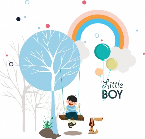 card background little boy icon colorful cartoon decoration