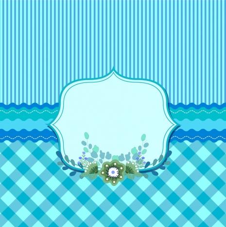 card cover template blue striped checkered decor