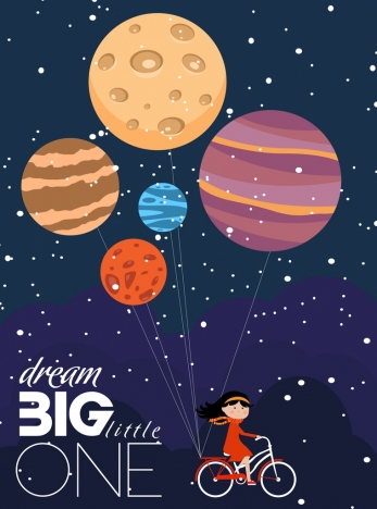 card cover template dreaming style planet girl icons