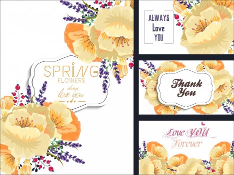 card cover templates flowers icons sketch texts decor