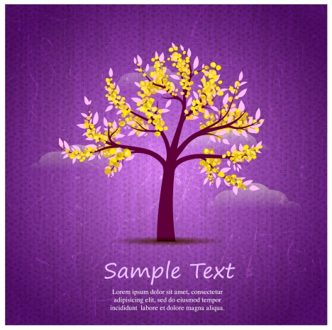 card design with blossom tree on violet background
