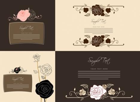 card templates collection rose icon dark design