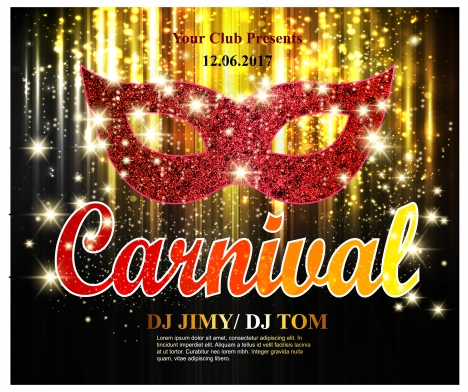carnival banner design with mask on bokeh background