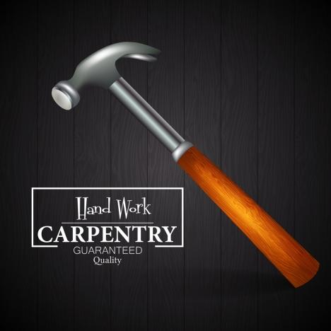 Carpentry advertisement hammer icon decoration 3d dark