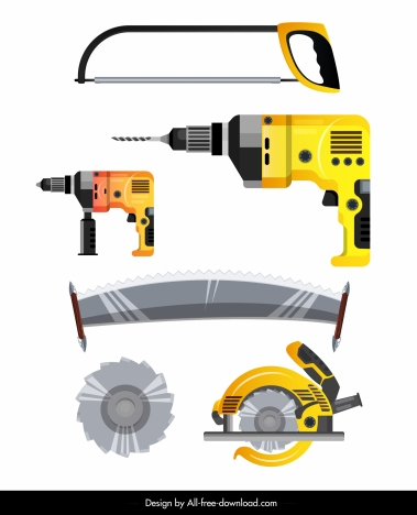 Carpentry equipment icons colored modern design vectors