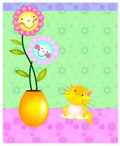 cartoon cat and flower