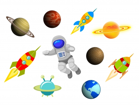 cartoon space science items set