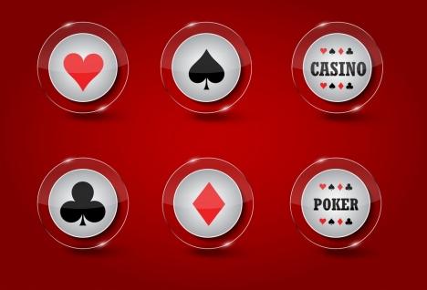casino design elements shiny transparent circle icons