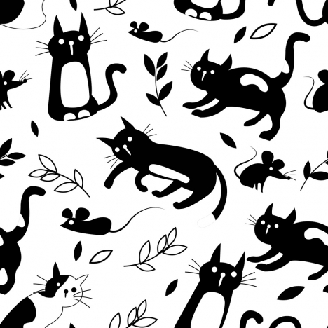 cat mouse background black white decor classical design