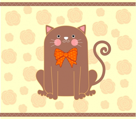 cat wearing bow icon colored handdrawn style