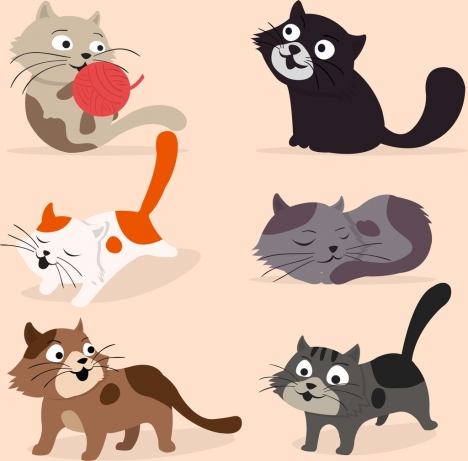 cats icons collection colored cartoon design