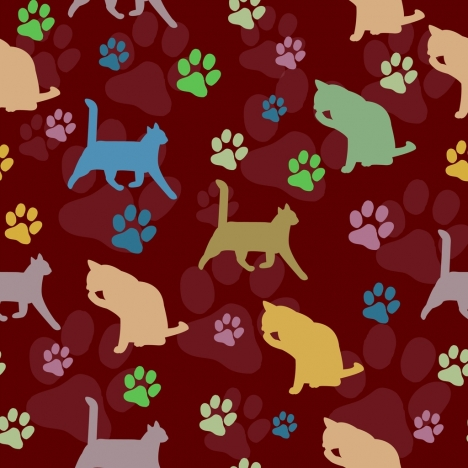cats pattern background colorful repeating footprints silhouettes decoration