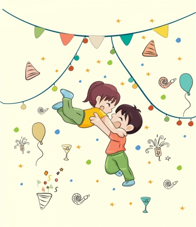 celebration background joyful kids ribbon decor cartoon design