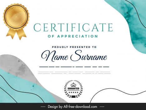 certificate template elegant bright abstract decor