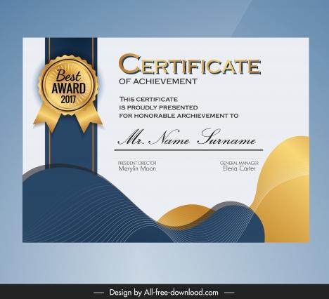 certificate template modern elegant dynamic curves decor