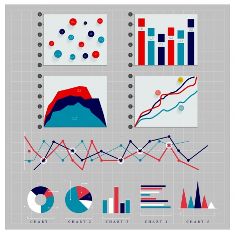 charts collection illustrated with various colors styles