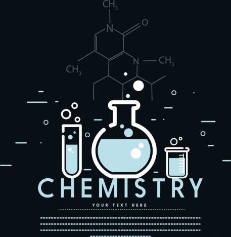 chemistry background dark design lab tools formula icons