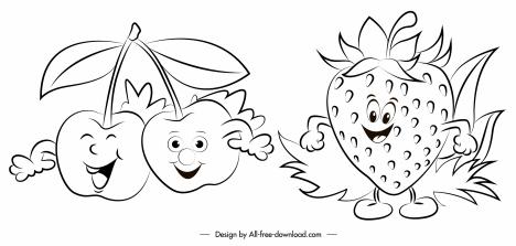 cherry strawberry icons stylized sketch handdrawn design