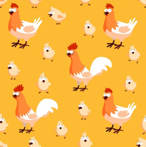 chicken chick background repeating icons cartoon design