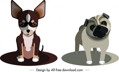 chihuahua bulldog icons cute cartoon design