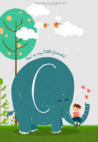 childhood background big elephant little boy retro design