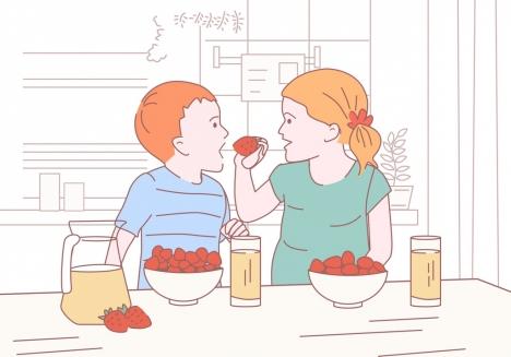 childhood background children eating fruits icon handdrawn sketch