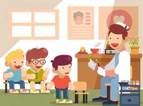 childhood background dental examination theme cartoon design