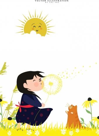 childhood background joyful girl pet stylized sun icons