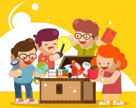 Childhood background kids education tools icons cartoon ...
