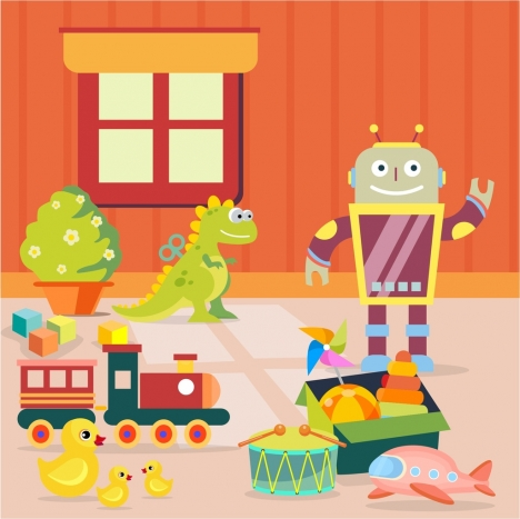 childhood background toys icons colored cartoon design