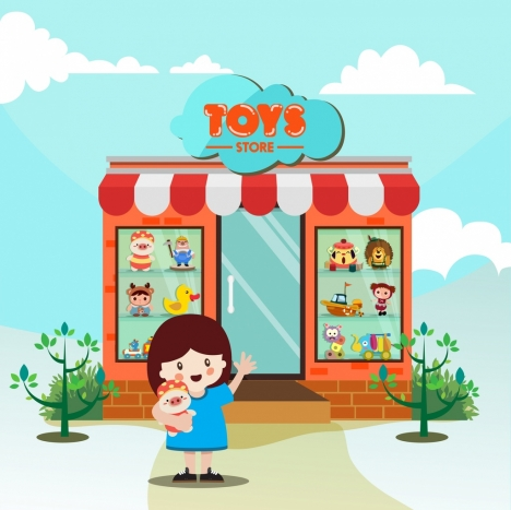 childhood background toys store girl icon cartoon design