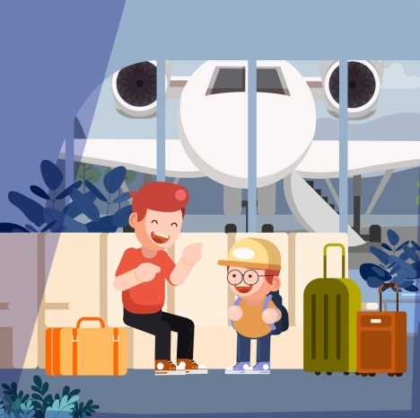childhood background travel theme cartoon characters