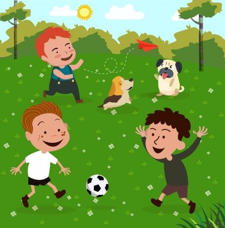 childhood drawing joyful boys icons colored cartoon design