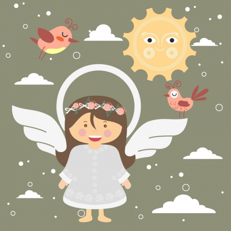 childhood dream background girl angle wings birds icons