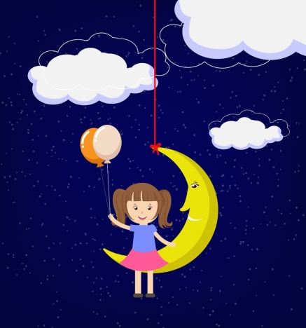 childhood dream theme stylized moon and girl design