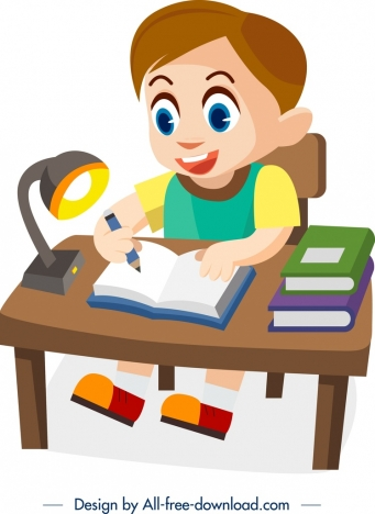 childhood painting studying boy icon colored cartoon sketch