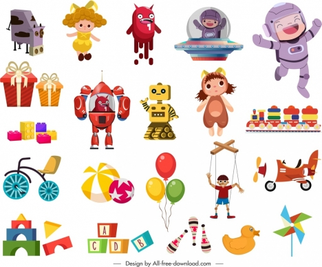 childhood toys icons colorful objects sketch