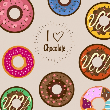Chocolate cakes background multicolored flat circles design