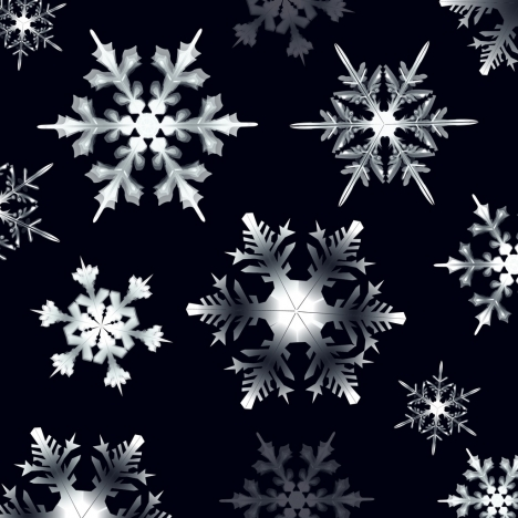 christmas background black white design shiny snowflakes icons