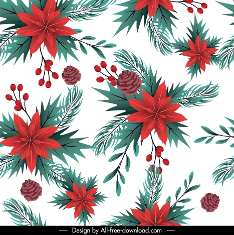 christmas background bright colored pine flowers decor