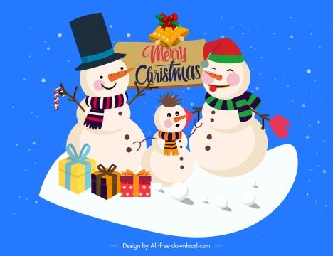 christmas background cute snowman family stylized cartoon design
