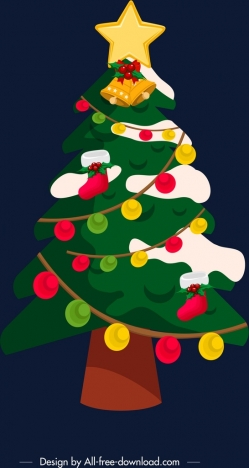 christmas background decorated fir tree icon classical design
