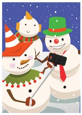 christmas background design with snowmen taking selfie