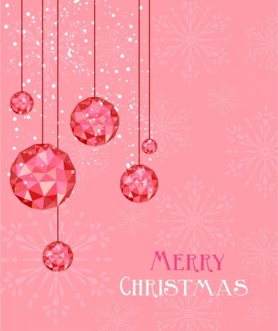 christmas background hanging gem decor pink design