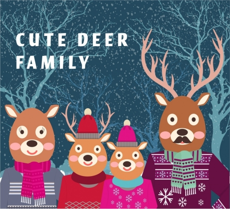 christmas background illustration with cute stylized reindeer family