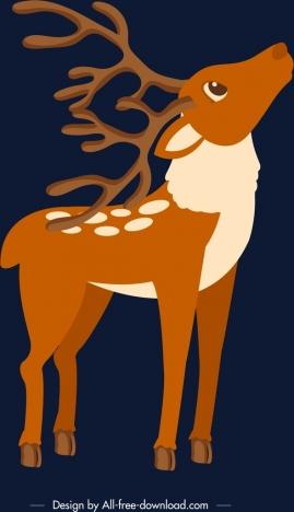 christmas background reindeer icon dark classical design
