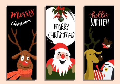 christmas background sets reindeer santa claus icons decor