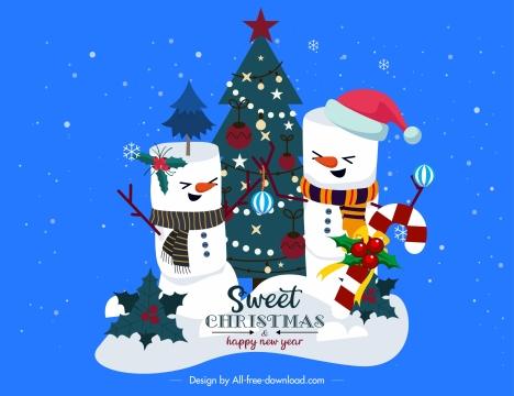 christmas background snowman decorated fir tree cartoon design