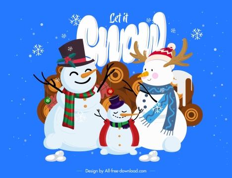 christmas background snowman family sketch cute cartoon design