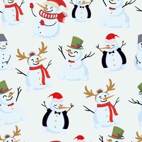 christmas background snowman icons decoration funny design